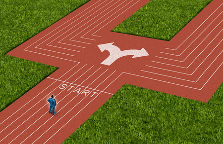 business dilemma: Businessman crossroads concept choosing the right path as a man on a track and field sport track facing a difficult choice and dilemma with  two different business directions as a metaphor for decision crisis