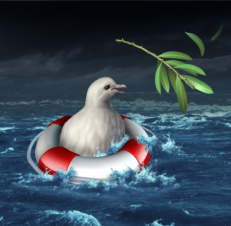 tribalism: Diplomatic crisis and war distress concept with a drowning white dove in an ocean during a storm losing his olive branch as a metaphor for lost opportunity for peace and human rights protection resulting in more wartime suffering  Stock Photo