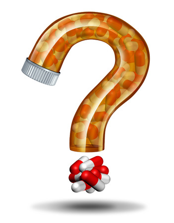 Medicine questions and prescription drugs advice concept as a pill bottle shaped as a question mark as a health care metaphor for treatment and therapy confusion when choosing the right medication or health insurance coverage  photo