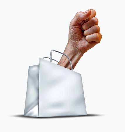 kracht: Consumentenrechten concept en bescherming van de klant symbool als een boodschappentas met een menselijke vuist in opkomst als een metafoor voor de kracht om te vechten voor het winkelend publiek wettelijk recht met betrekking tot de verkoop van fraude en krediet tarieven of schuld