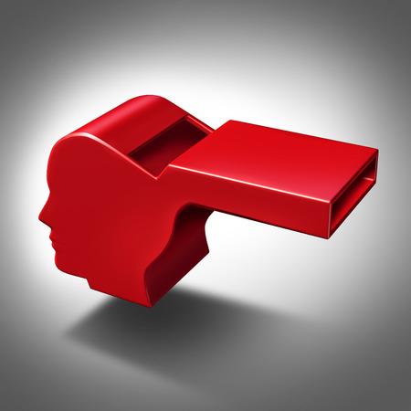 Klokkenluider of klokkenluider-concept als een symbool van het blootstellen van corruptie en wangedrag voor mensen die niet de regels of zelfverdediging pictogram niet follw met een rode fluiten object in de vorm van een menselijk hoofd Stockfoto