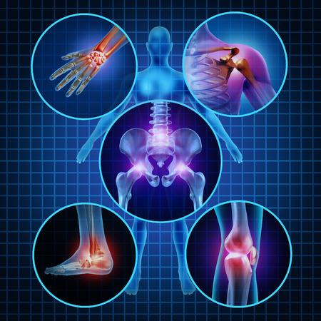 Dolor en las articulaciones concepto anatomía humana con el cuerpo como un grupo de paneles circulares de zonas doloridas como el dolor y la lesión o la enfermedad de la artritis símbolo para el cuidado de la salud y síntomas médicos debido al envejecimiento o deportes y el trabajo lesiones Foto de archivo