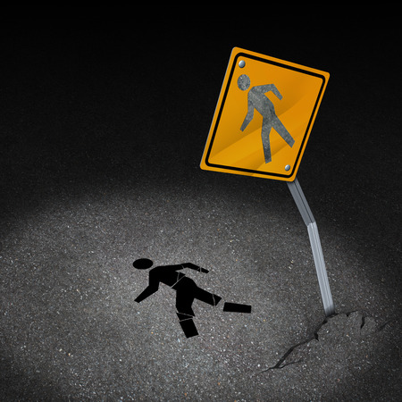 Traffic accident injury concept as a damaged road sign with a person pedestrian symbol fallen on the floor with broken bones and physical pain after a car crash as a metaphor for accident insurance or drunk driving dangers  Фото со стока