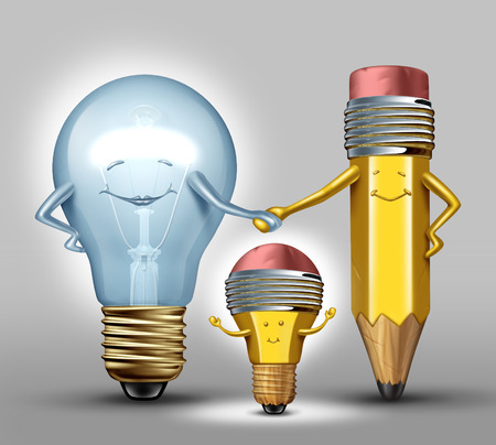 creative strength: Creativity concept as a mother lightbulb and father pencil characters giving birth to a child that combines the creative strength of both parents as a synergy metaphor for successful results with collaboration through planning and partnership Stock Photo