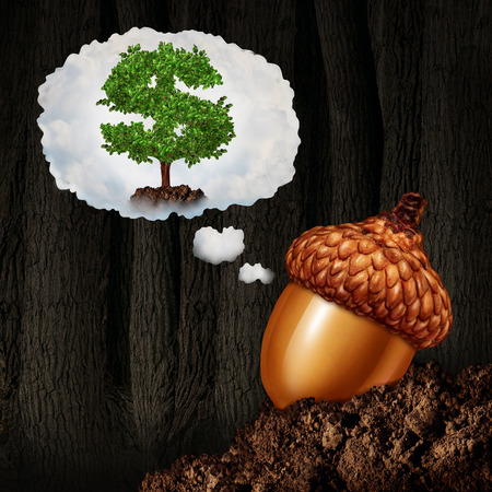 Investment planning business concept as an acorn seed dreaming about future growth ambition as a dollar sign money tree in a dream bubble as a financial and finance metaphor for long term investor success and wealth destiny
