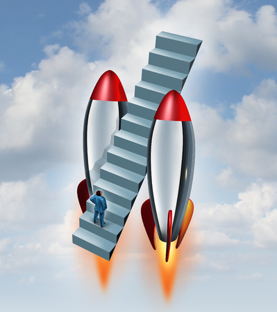 Career fast track and climbing the corporate ladder symbol as a businessman on a stairway flying up to the sky with the help of two rocket boosters as a metaphor accelerated growth and speeding up a business strategy  photo