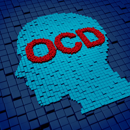 Obsessive compulsive disorder or OCD medical concept as a human head and letters made of organized  three dimensional cubes as a symbol of the anxiety symptoms of obsessions and compulsive behavior caused by psychological issues of nervouse repetitive rit