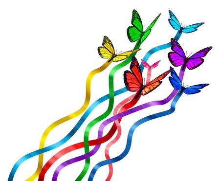 interacci�n: Concepto de liberaci�n creativa como un grupo de mariposas como los colores del arco iris con la seda Foto de archivo