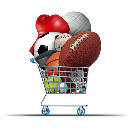 Sports equipment shopping cart buying at sport stores