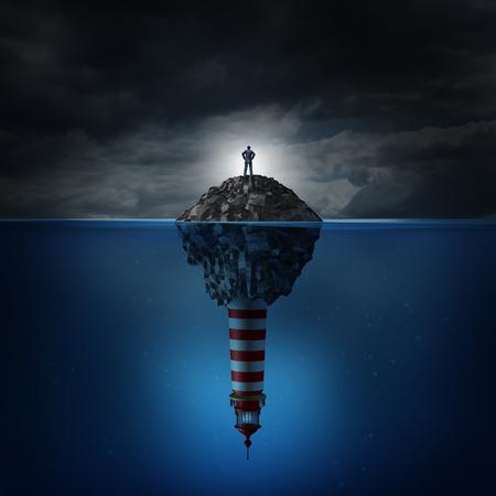 Crise de la Direction et de l'incertitude ou de conseils confusion comme un concept d'affaires avec un homme d'affaires confus debout sur une île rocheuse dans un océan avec un phare Banque d'images - 28295197