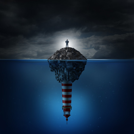 drowning: Direction crisis and uncertainty or guidance confusion as a business concept with a confused businessman standing on a rock island in an ocean with a lighthouse