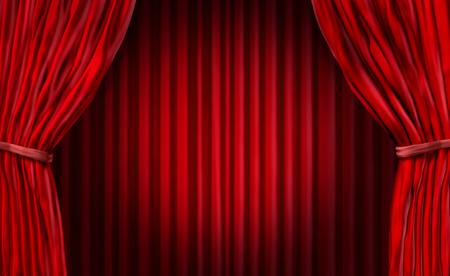 映画は劇場の舞台公演のエンターテインメント カーテンの背景