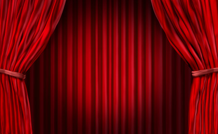 stage background: Entertainment curtains background for movie performances at a theater stage