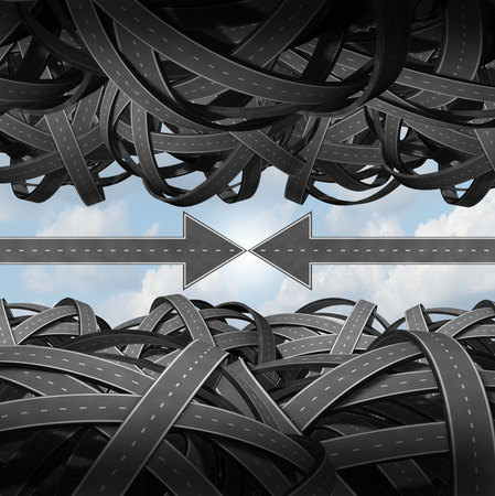 tangled roads: Meeting through confusion using communication business teamwork concept as a group of tangled roads with two arrow streets joining together creating a bridge of agreement despite the chaos and direction crisis as a partnership metaphor for overcoming chal