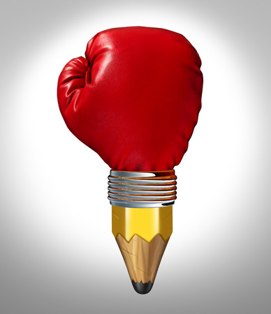 Powerful design concept and creative power symbol as a pencil shaped as a red boxing glove in a business and education metaphor for aggressive revolutionary innovatve thinking  photo