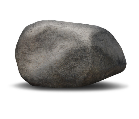 堅牢な安定性および単一荒い織り目加工重い灰色の石で表される不動の信頼の記号として白い背景の上の岩ボルダー オブジェクト