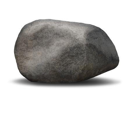 starr: Fels Felsblock-Objekt auf einem wei�en Hintergrund als Symbol der feste Stabilit�t und unbeweglichen Vertrauen in einem einzigen grob strukturiertem schweren grauen Stein vertreten