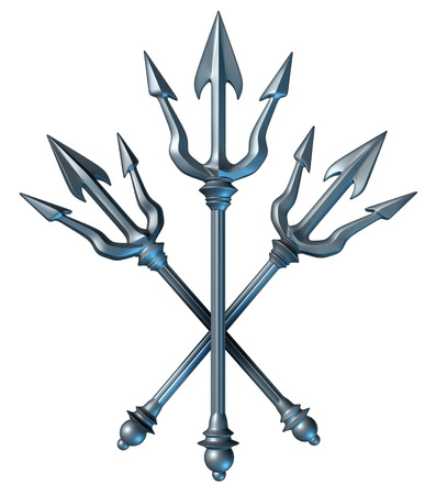 Trident concept as a group of metal spears crest design as a Greek mythology symbol photo