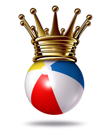 Best summer activities concept as a beach ball wearing a gold crown as a symbol of the king of family fun and outdoor liesure vacation  photo