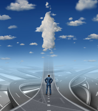Career development business concept as a businessman standing in front of a group of tangled roads and streets with one straight highway leading to an arrow cloud as a metaphor for leadership vision overcoming stress and a confusion crisis  版權商用圖片