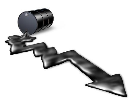 oil barrel: La ca�da del precio del petr�leo y la disminuci�n de los costos de petr�leo concepto como un barril derramando en forma de una Carta de la flecha hacia abajo, como una met�fora de la ca�da del mercado de la energ�a stock y p�rdida debido a la econom�a y la nueva industria de la energ�a verde l�quido negro