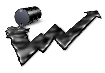 Increasing price of oil concept as an gasolene drum spilling petroleum with the black liquid shaped as an upward stock market graph arrow as a metaphor for rising costs of fuel on a white background