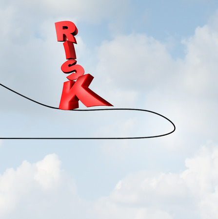 Changing risk direction business concept with a three dimensional text walking on a tightrope high wire