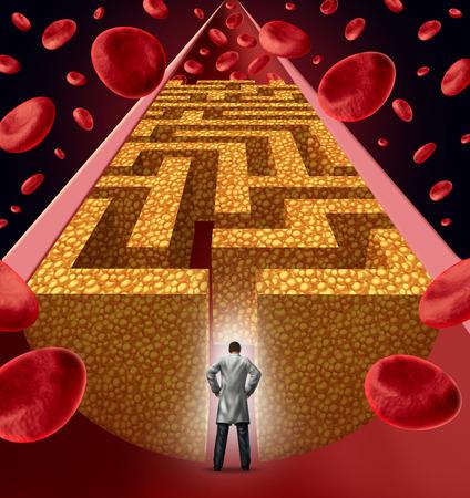 schlauch herz: Cholesterin Behandlung durch einen Arzt, Herzchirurg vor einer verstopften Arterie