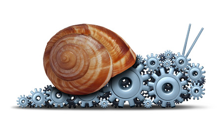 patience: Slow Business concept as a snail shaped  Stock Photo