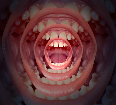 big mouth: Voice concept with a big human mouth getting smaller