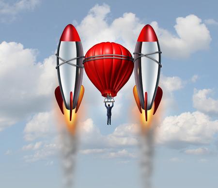 hombre de negocios: Acelerado concepto de negocio la tasa de crecimiento como hombre de negocios volando con un globo de aire caliente ayudado por dos cohetes impulsores como un éxito la metáfora de la carrera para el aumento de oportunidades de las nuevas ideas competitiva innovadora