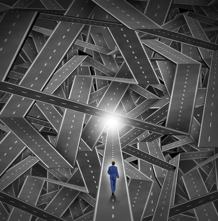 expertise: Crisis manager business concept as a businessman walkig through a maze and direction chaos with a mountain of tangled sharp turn roads as a financial metaphor for managing challenging organization situations with courage and expertise  Stock Photo