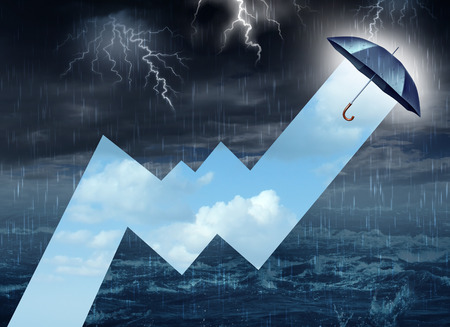 weather protection: Crisis shelter from the storm business concept as a dangerous dark raining sky with lightning contrasted by an umbrella drawing a stock market profit chart with a bright blue summer sky as a success metaphor for overcoming adversity