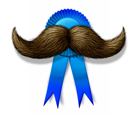 fatherhood: Happy fathers day and I love you Dad award with a blue ribbon crest and a mustache or moustache as a celebration of fatherhood holiday symbol on a white background