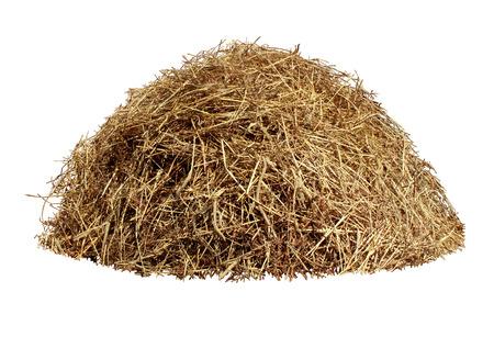 Hay stapel geïsoleerd op een witte achtergrond als een landbouw boerderij en de landbouw symbool van de oogsttijd met gedroogd gras stro als een berg van gedroogd gras hooiberg Stockfoto