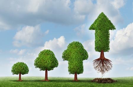 exito: Éxito de la inversión como un concepto de negocio para el crecimiento de la riqueza como un pequeño árbol convirtiendo gradualmente en una planta de flecha en vuelo madura como una metáfora financiera para una estrategia de inversión exitosa