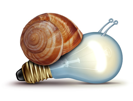 Low energy and slow creative concept as a light bulb or lightbulb with a snail shell as an innovation crisis metaphor for creativity issues facing new ideas to innovate on a white background