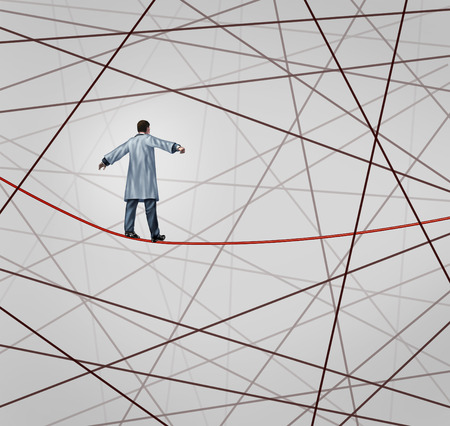 Medical solution health care concept as a doctor walking on a red tightrope or highwire around a group of tangled wires as a symbol of challenges in insurance and the risk in illness treatment for patients