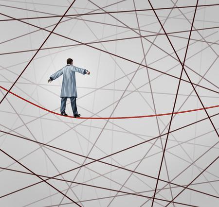 salute: Soluzione medica concetto di assistenza sanitaria come un medico che cammina su una corda tesa rosso o funambolo attorno a un gruppo di fili aggrovigliati come simbolo di sfide nel settore delle assicurazioni e il rischio in trattamento di malattia per i pazienti