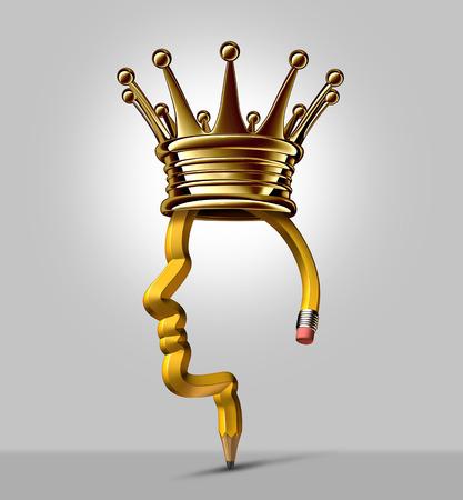 creador: Rey del lápiz y de negocios líder creativo y símbolo de la educación como una forma de una cabeza humana con una corona de oro como un símbolo y el concepto de liderazgo en innovación y creador exitoso instrumento de escritura