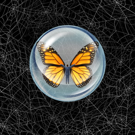 adversity: Shelter from risk and crisis business concept as a person in a protective bubble with butterfly wings flying through a chaos of spider webs overcoming career traps and avoiding financial adversity