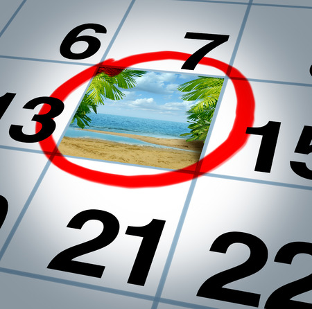 holiday symbol: Vacation plan traveling concept and planning your trip as a calendar date reminder with a sunny beach and palm trees highlighted with a red marker as a symbol of planning a fun relaxing holiday event