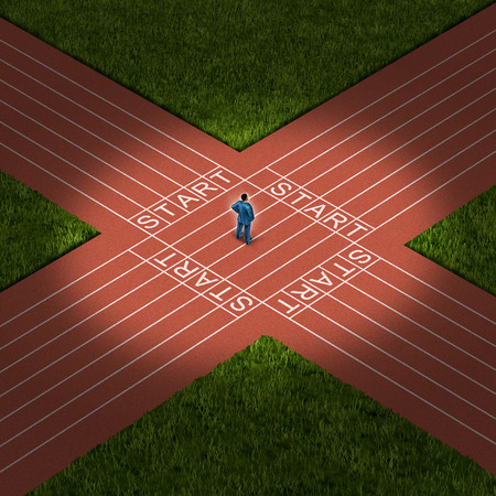 uncertainty: Career decision business strategy concept as a businessman standing on a track and field that has multiple paths to a future opportunities as a metaphor for uncertainty and financial direction confusion and choosing success options