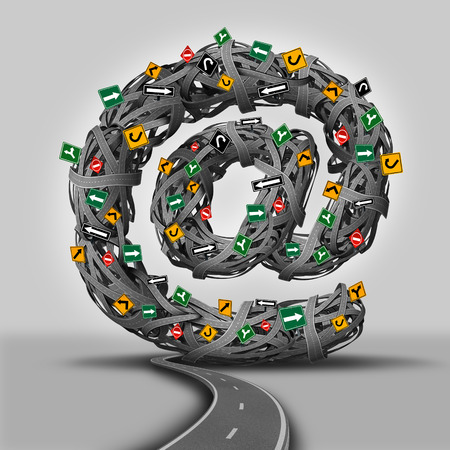 communicating: Email concept for social media as a group of direction traffic signs and tangled roads shaped as the at symbol for electronic mail  communication  as a marketing and technology networking icon for communicating through the internet  Stock Photo