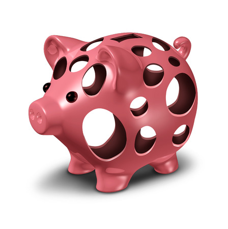 savings problems: Financial hole concept as a ceramic pink piggy bank with empty holes as a metahor for a money crisis and lost savings stress