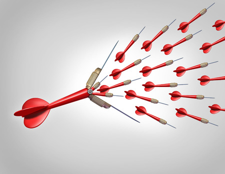 Increasing economic opportunities with innovation as a business concept as a red dart flying with the tip opening up and releasing a large group of smaller darts as a financial metaphor for increased chance of hitting your target and achieving goals  photo