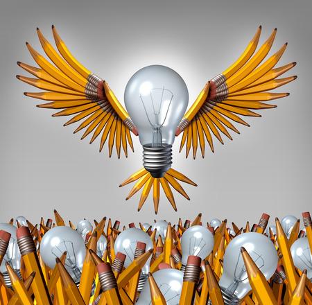 breaking out: Bombilla concepto l�piz pensar fuera de la caja como una combinaci�n asociaci�n creativa volar estallar de un grupo ca�tico de bulbos y l�pices individuales como un �xito la met�fora de negocios organizado para formar un equipo para un nuevo liderazgo