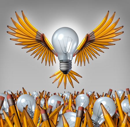 breaking out: Light bulb pencil concept thinking outside the box as a flying creative partnership combination breaking out from a chaotic group of individual bulbs and pencils as an organized  business success metaphor to team up for new leadership