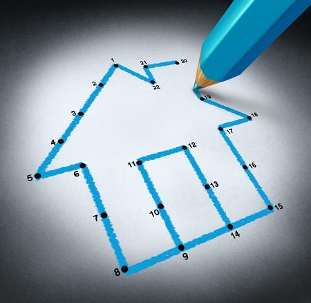 realiseren: Het plannen van een huis concept met een potloodtekening lijnen naar de punten te verbinden tot een familie droom van het bouwen van een woon-structuur door het opslaan van geld om een huis hypotheek veroorloven realiseren
