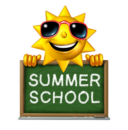 special education: Summer school education concept as a happy fun three dimensional sun character holding a chalkboard with a drawing of the words as a symbol of learning extracurricular courses in the hot seasonal months  Stock Photo